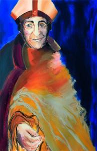 """Maleri af Bisp Gunner udført af Lene Melchiorsen i forbindelse med opførelsen af stykket """"Med lov skal land bygges"""" i 2010."""